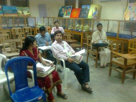 4-5 delegates sitting in the Sanskrit section on 11-01-2014 morning