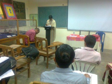 4-5 delegates sitting in the Sanskrit section on 11-01-2014 morning during paper-presentation